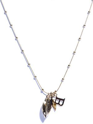 Scarab beetle and leaf charm pendant necklace