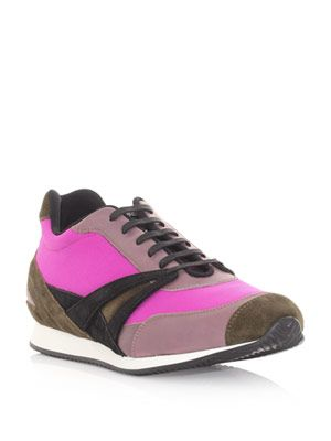 Leather and fabric trainers