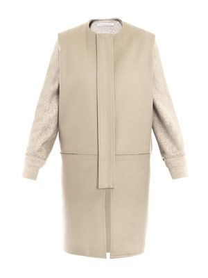 Caban contrast-sleeve collarless coat
