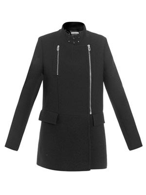 L'Officier biker-zip crepe coat