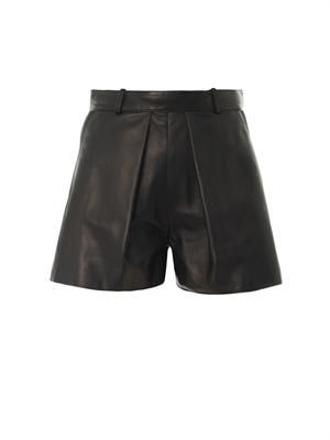Leather and canvas shorts