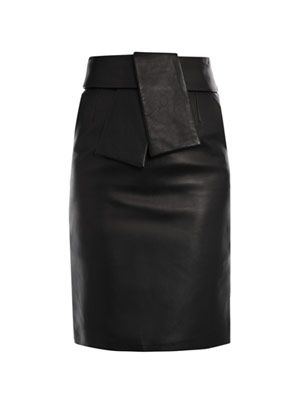 Leather kimono tie pencil skirt