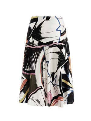 Gingko-print skirt