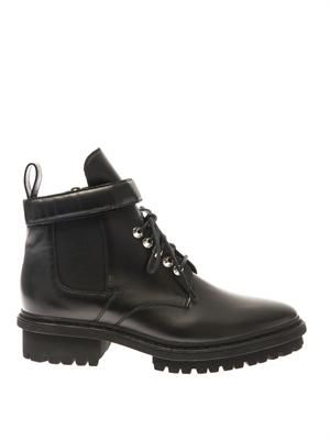 Unit leather biker ankle boots