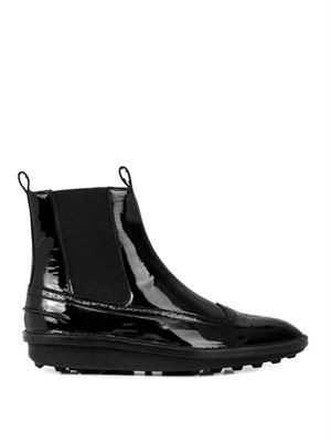 Patent leather brogue ankle boots