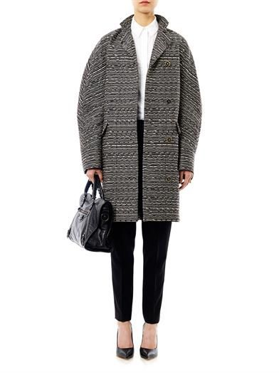Balenciaga Cristobal layered tweed coat