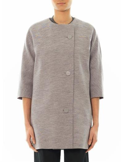 Balenciaga Wool-jersey collarless coat