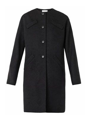 Cocoon-shaped wool coat
