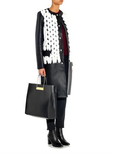 Balenciaga Shearling and leather collarless coat