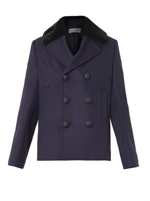 Fur-collar wool-blend pea coat