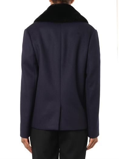 Balenciaga Fur-collar wool-blend pea coat