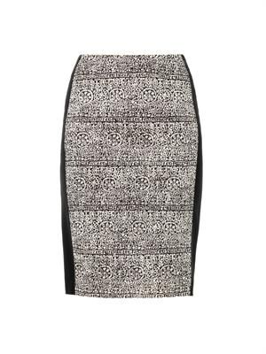 Lace-print pencil skirt