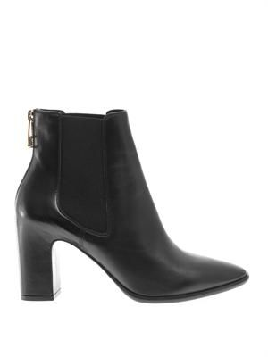 Zip-back leather ankle boots