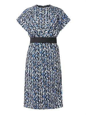 Belted graphic-print crepe dress