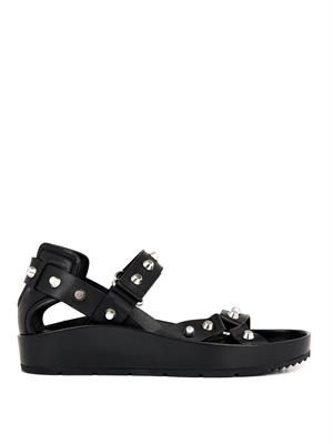 Arena stud leather platform sandals