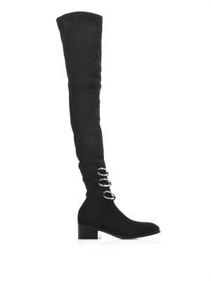Chain strap suede boots