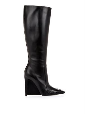 Alligator and leather stiletto-wedge boots
