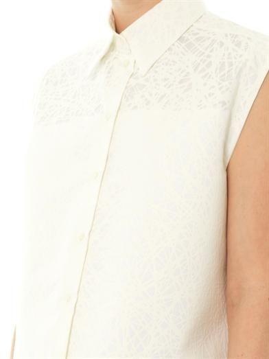 Balenciaga Noise-print silk and cotton-blend top