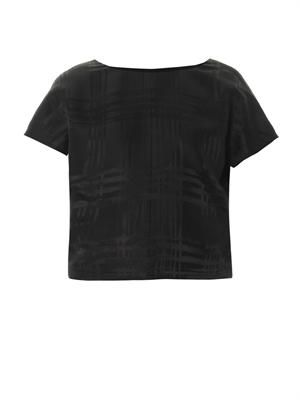 Graphic-jacquard silk top