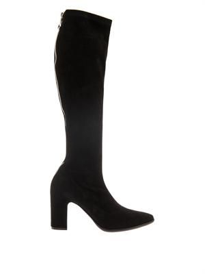 Knee-high suede zip boots