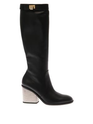 Concrete-heel leather boots