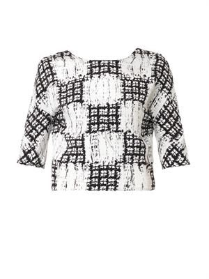 Scribble-check cropped blouse