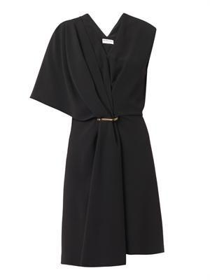 Draped shoulder crepe dress