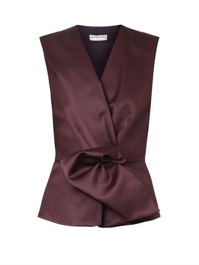Balenciaga Gathered-front duchess-satin blouse