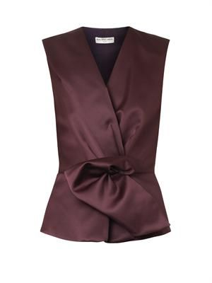Gathered-front duchess-satin blouse