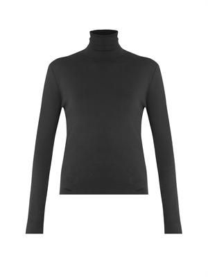 Roll-neck silk sweater