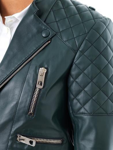 Balenciaga Quilted shoulder leather biker jacket