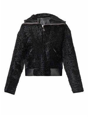 Reversible shearling biker jacket