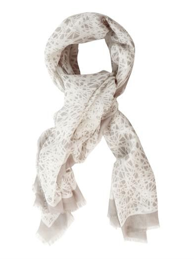 Balenciaga Noise-print wool and silk-blend scarf