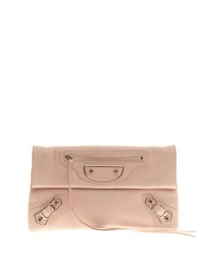 Classic edge-line leather envelope clutch