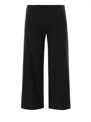 Wool-crepe cropped trousers