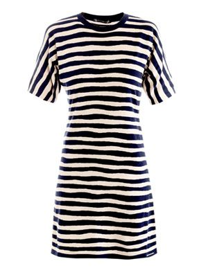 Stripe-print knitted dress