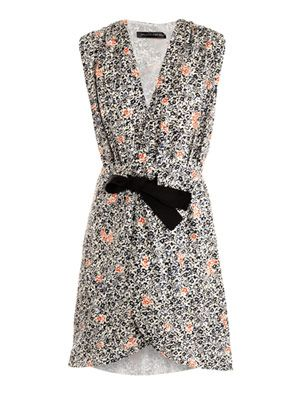 Fleurs-print wrap dress