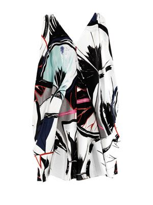 Ginko-print ethereal dress
