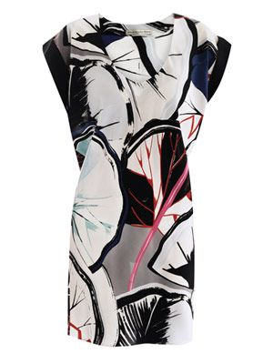 Gingko-print silk dress