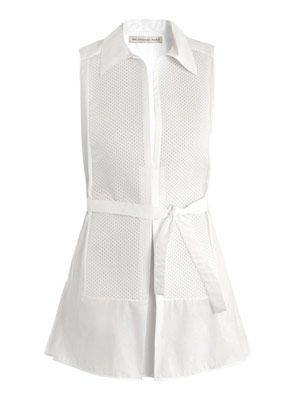 Poplin macro-pique shirt dress