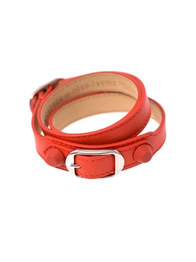 Balenciaga Rubber stud wrap-around leather bracelet