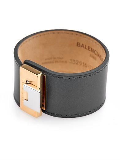 Balenciaga Le Dix charcoal leather bracelet