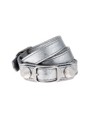 Wrap-around metallic leather bracelet