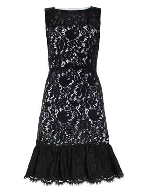 Lace contrast-underlay dress