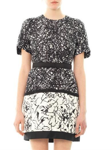 Balenciaga Mix print silk-blend shift dress