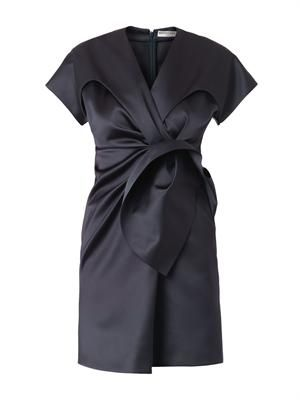 Duchess-satin gathered-front dress