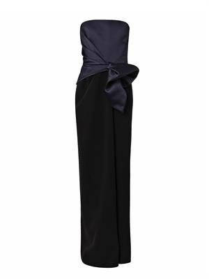 Bi-colour satin and crepe gown