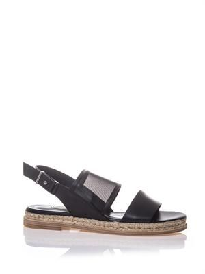 Leather, mesh and espadrille sandals