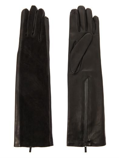 Balenciaga Leather and suede long gloves