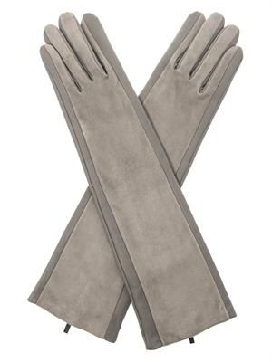 Leather and suede long gloves